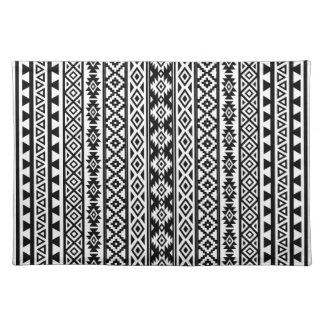 Aztec Stylized (V) Pattern Black & White Placemat