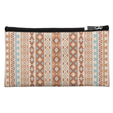 Aztec Themed Aztec Stylized (V) Pattern Blue Cream Terracottas Makeup Bag