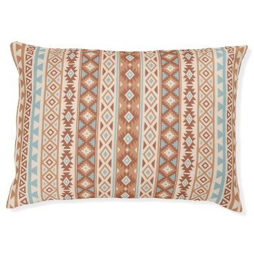 Aztec Themed Aztec Stylized (V) Pattern Blue Cream Terracottas Pet Bed
