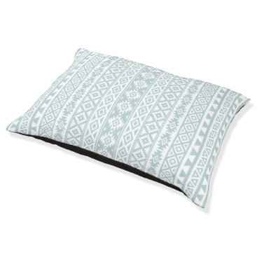 Aztec Themed Aztec Stylized (V) Pattern Duck Egg Blue & White Pet Bed