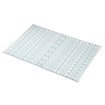 Aztec Themed Aztec Stylized (V) Pattern Duck Egg Blue & White Placemat