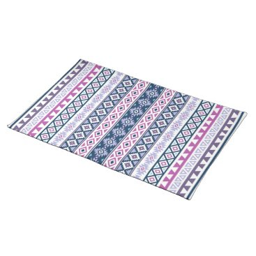 Aztec Themed Aztec Stylized (V) Ptn Pinks Purples Blues White Cloth Placemat