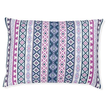 Aztec Themed Aztec Stylized (V) Ptn Pinks Purples Blues White Pet Bed