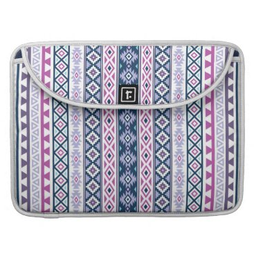 Aztec Themed Aztec Stylized (V) Ptn Pinks Purples Blues White Sleeve For MacBooks