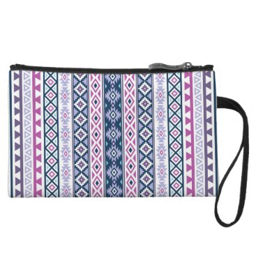 Aztec Themed Aztec Stylized (V) Ptn Pinks Purples Blues White Wristlet Wallet