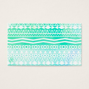 Aztec Themed Aztec Summer Teal Watercolor Geometric Pattern Business Card