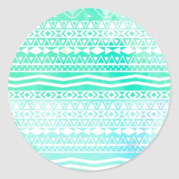 Aztec Themed Aztec Summer Teal Watercolor Geometric Pattern Classic Round Sticker