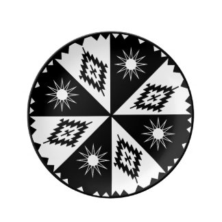 Aztec Sun and Diamond Black and White Porcelain Plates
