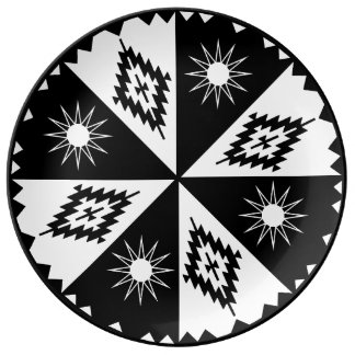 Aztec Sun and Diamond Black and White Porcelain Plate