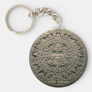 "Aztec ""Sun calendar,"" Mexico City Basic Round Button Keychain"
