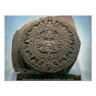 """Aztec """"Sun calendar,"""" Mexico City Poster"""