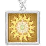 Aztec Sun Fantasy Fine Art Personalized Necklace