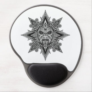 Aztec Sun Mask Black on White Gel Mouse Pad