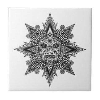 Aztec Sun Mask Black on White Small Square Tile