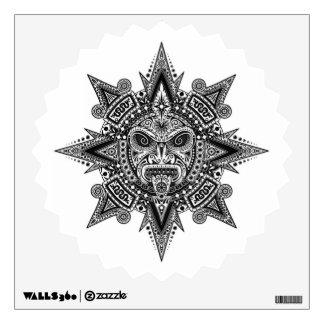 Aztec Sun Mask Black on White Wall Sticker