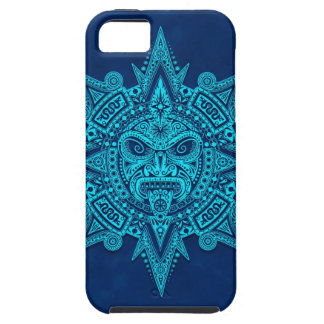 Aztec Sun Mask, Blue iPhone 5 Cases
