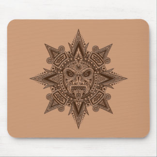 Aztec Sun Mask Brown Mouse Pad