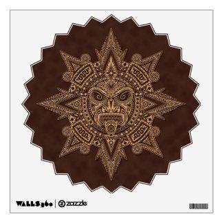 Aztec Sun Mask Golden Brown Wall Decal