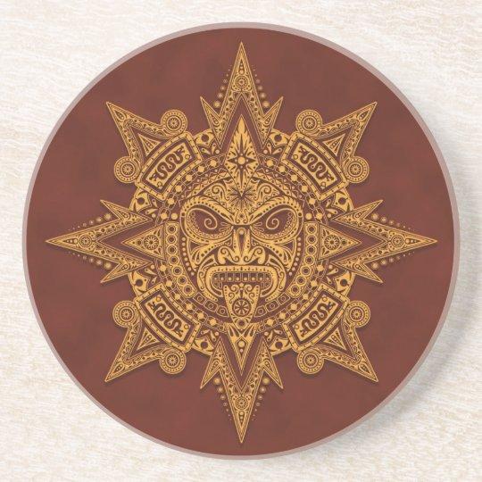 Aztec Sun Mask – Golden Red Drink Coaster