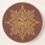Aztec Sun Mask – Golden Red Drink Coasters