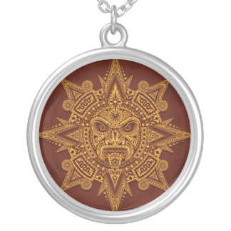 Aztec Sun Mask – Golden Red Silver Plated Necklace