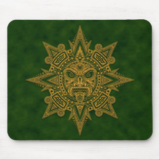 Aztec Sun Mask (green) Mouse Pad
