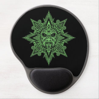 Aztec Sun Mask Green on Black Gel Mouse Pad