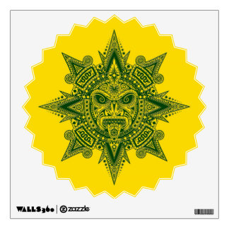 Aztec Sun Mask Green on Yellow Wall Decal
