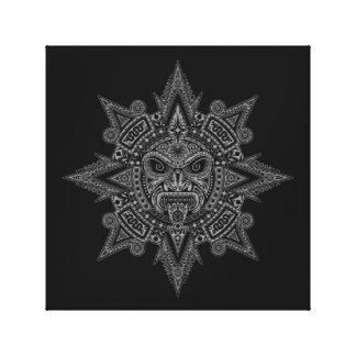 Aztec Sun Mask Grey on Black Canvas Print