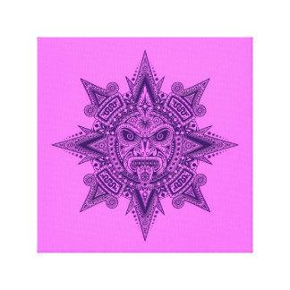 Aztec Sun Mask Purple and Pink Canvas Print