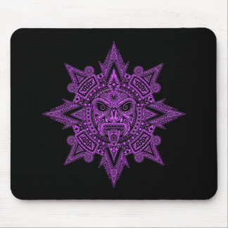 Aztec Sun Mask Purple on Black Mouse Pad