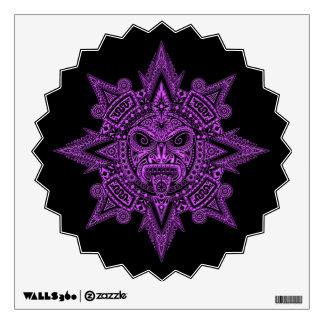 Aztec Sun Mask Purple on Black Wall Decal