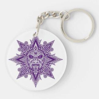 Aztec Sun Mask Purple on White Keychain