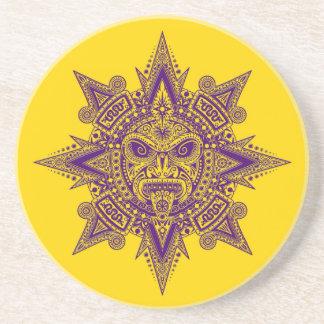 Aztec Sun Mask Purple on Yellow Beverage Coasters