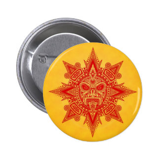 Aztec Sun Mask – Red and Yellow Pins