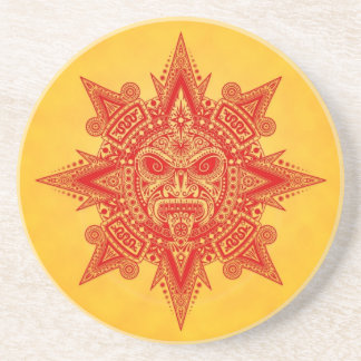 Aztec Sun Mask – Red and Yellow Coaster