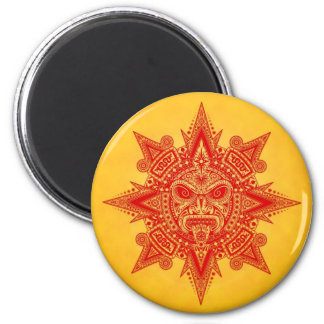 Aztec Sun Mask – Red and Yellow Fridge Magnet