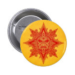 Aztec Sun Mask – Red and Yellow Pinback Button