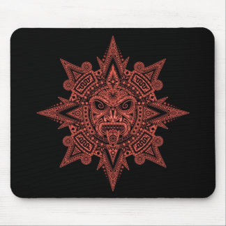 Aztec Sun Mask (red & black) Mouse Pad