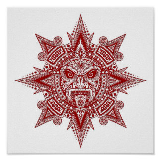 Aztec Sun Mask Red on White Print
