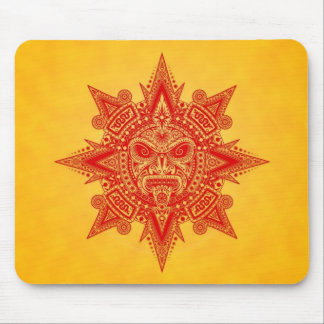 Aztec Sun Mask (red & yellow) Mouse Pad
