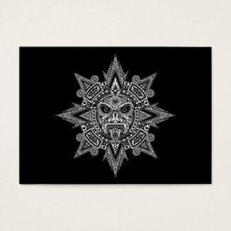 Aztec Sun Mask White on Black Business Card