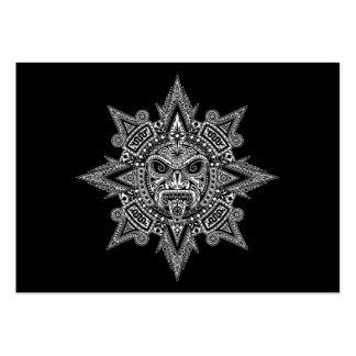Aztec Sun Mask White on Black Large Business Card