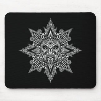 Aztec Sun Mask White on Black Mouse Pad