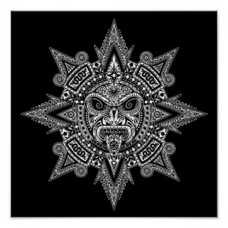 Aztec Sun Mask White on Black Posters