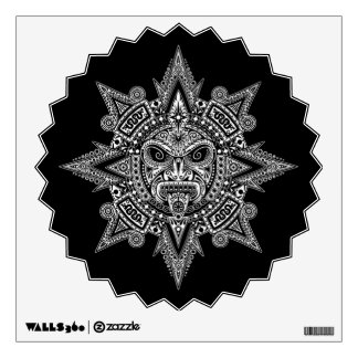 Aztec Sun Mask White on Black Wall Decal