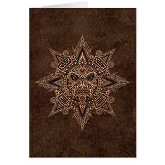 Aztec Sun Mask with Stone Effect Greeting Cards