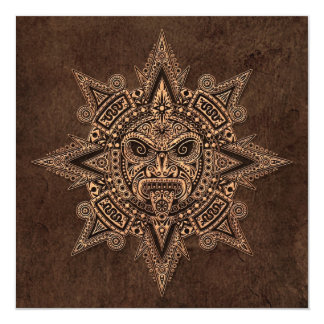 Aztec Sun Mask with Stone Effect Card