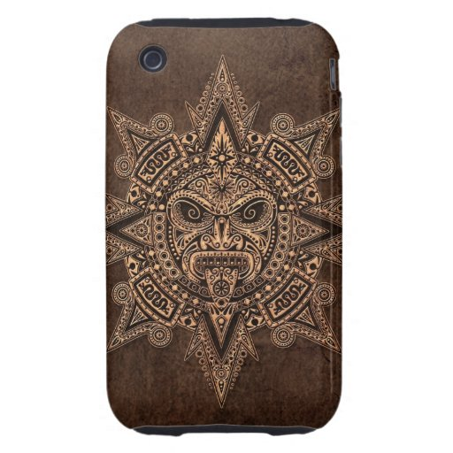 Aztec Sun Mask with Stone Effect Tough iPhone 3 Case