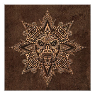 Aztec Sun Mask with Stone Effect Personalized Announcement